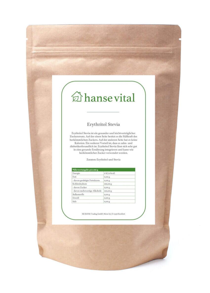 Erythritol Stevia online bestellen im Onlineshop von hanse vital - Den gesunden und vitalen Zuckerersatz online kaufen.