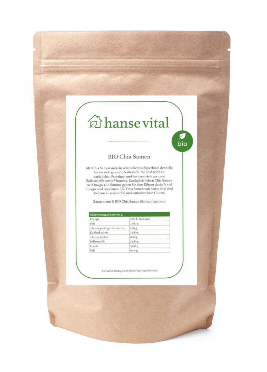 BIO Chia Samen online bestellen mi Onlineshop von hanse vital - Das gesunde Superfood kaufen